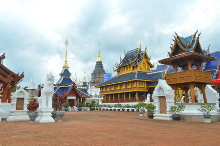 buddhist structures: Ancient pagoda temple in Chiang Mai, Thailand.