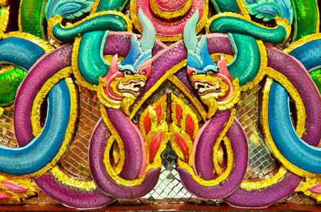 King of Naka or Thai dragon, Public Thai pattern art at Wat Nak Prok.