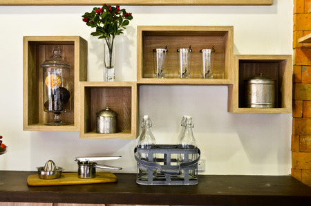 upper class: New Modern Luxury Kitchen copy space - Stock Image
