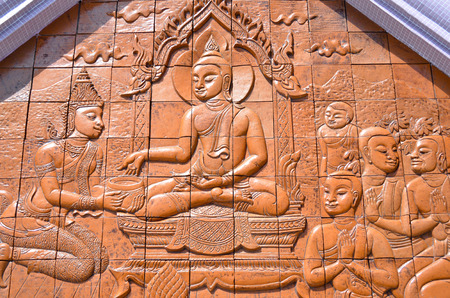 generality: Art Thai style carving Buddha on the wall in temple,Thailand. Generality in Thailand, any kind of art decorated in Buddhist church