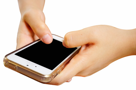 symptom: 2 Hands holding mobile smart phone with blank screen. Isolated on white. Stock Photo