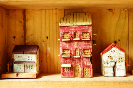 decorate: Small wood house model  in woodshelf interior decorate