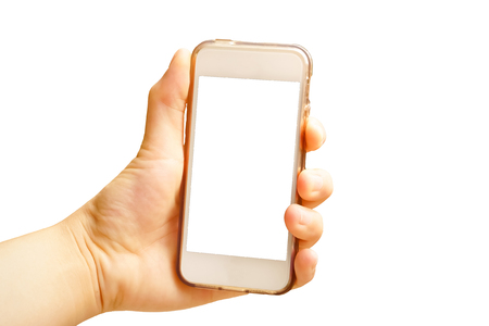 Hand holding smart phone (Mobile Phone) isolate on white background