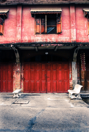 red old colonial-era beautiful chinese house