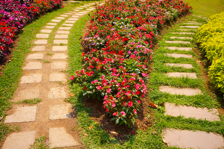 back alley: Bright summer garden planted alongside winding tile walkway Stock Photo