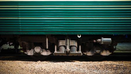 Industrial rail train wheels closeup
