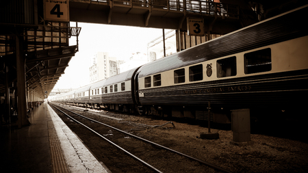 BangkokI, THAILAND - Febuary 13, 2018: The Eastern & Oriental Express  Luxury Trains,Bangkok to Singapore in Hua Lamphong railway station