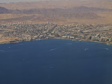 nile source: Aerial View of the city of Eilat Stock Photo