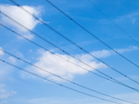 superconductor: high voltage wires with a blue sky Stock Photo