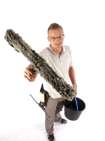 sop: windows cleaner with tools on a white background Stock Photo