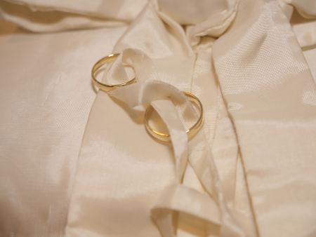 wedding rings on silk photo