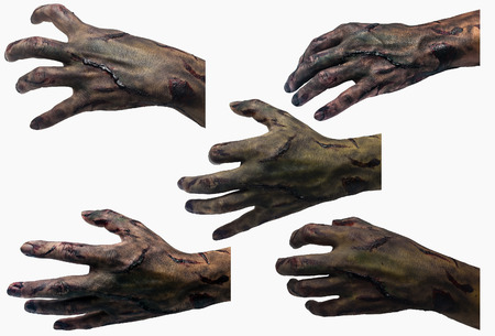 zombie hand: Zombie hand Variousposture  in white background Stock Photo