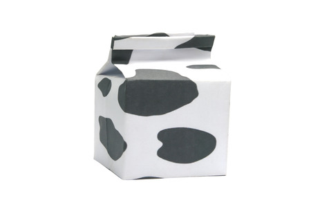 skim: White milk box isolated on white background Stock Photo