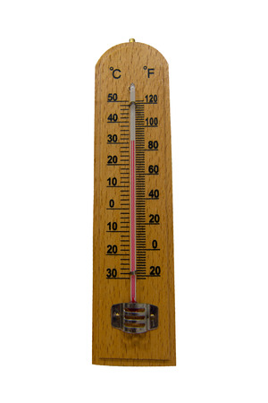 hotter: Wooden thermometer Stock Photo