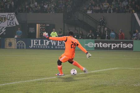 DC United goalkeeper Bill Hamid  kicks the ball across Jeld- Wen Field 9-29-2012.