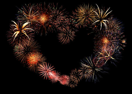 Big beautiful valentine day greeting heart made of colourful fireworks