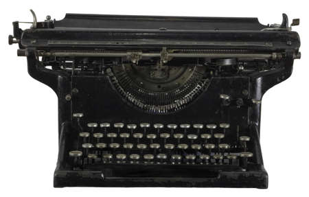 Old dirty rusty black mechanic typing machine with cyrillic characters isolated on white photo
