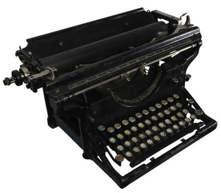 Old dirty rusty black mechanic typing machine with cyrillic characters isolated on white Stock Photo - 4255348