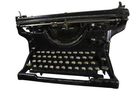 Old dirty rusty black mechanic typing machine with cyrillic characters isolated on white Stock Photo - 4370462