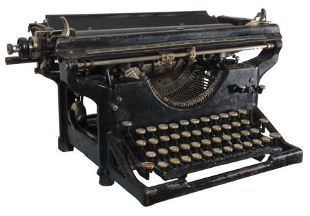 cyrillic: Old dirty rusty black mechanic typing machine with cyrillic characters isolated on white