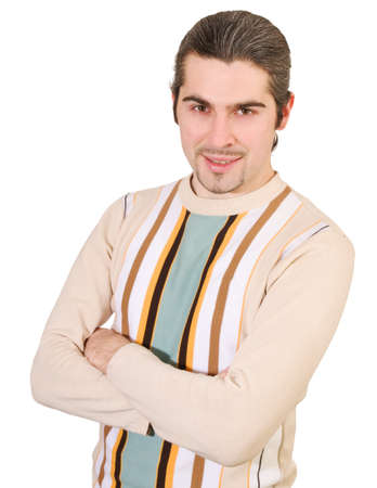 Young dark haired caucasian man in striped sweater isolated on white photo