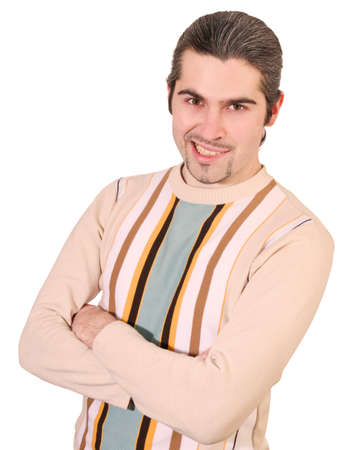 Young smirking dark haired caucasian man in striped sweater with vicious expression on his face isolated photo