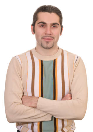 Young smiling dark haired caucasian man in striped sweater isolated on white photo