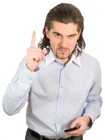 sternly: Young dark haired caucasian man in light blue striped shirt looking sternly and shaking his finger isolated on white Stock Photo