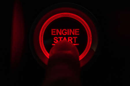 Start Button System to start the car. Stock Photo