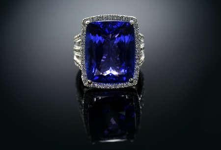 18 Ct  750  White Gold Tanzanite Ring set with Diamonds photo