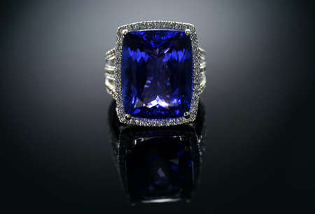 tanzanite: 18 Ct  750  White Gold Tanzanite Ring set with Diamonds Stock Photo