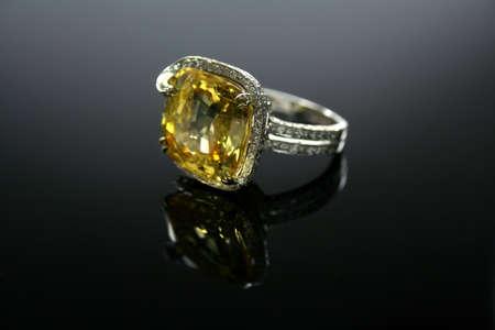 18K Ct White Gold Yellow Topaz Ring set with Diamonds photo
