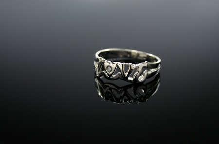18 Ct WG Diamond Ring  LOVE  photo