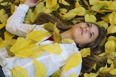 Woman & Leaves