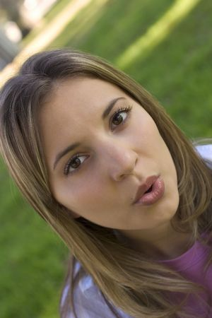 puckering lips: Surprised Girl