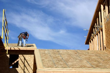 roof framing: Construction Worker
