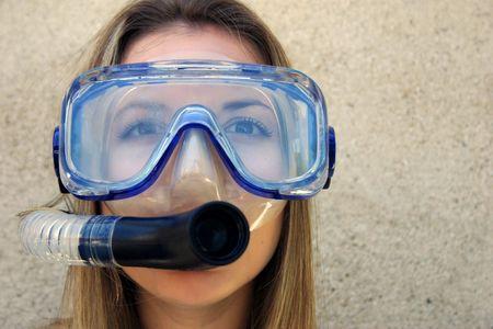 スキューバ ダイビングの女性