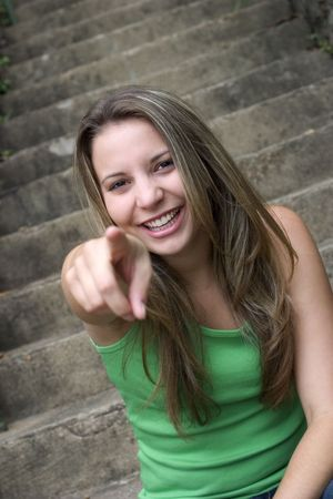Woman Pointing photo