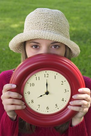 fas: Clock Woman Stock Photo