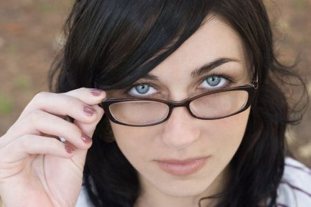 studious: Glasses Woman Stock Photo