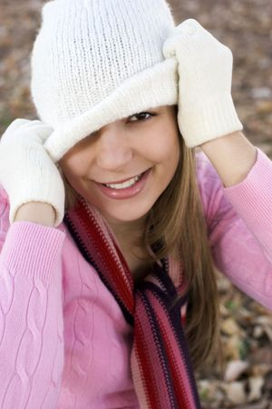 fille hiver: Playful Girl hiver