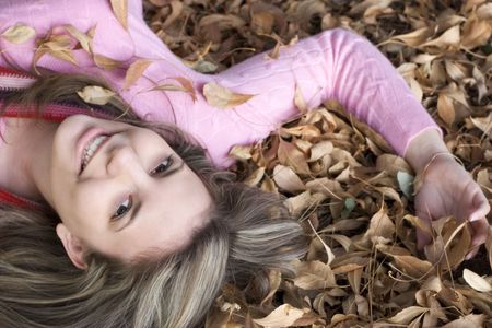 Playing in Leaves Stock Photo - 303980