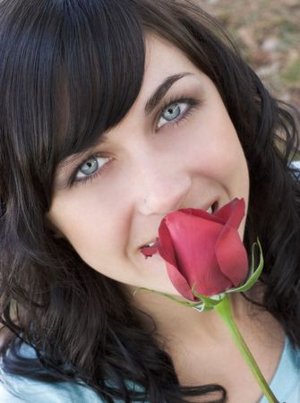 black hair blue eyes: Rose Woman