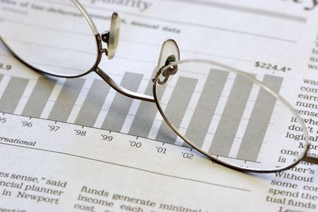 Graph and Glasses Stock Photo