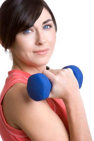 lifting weights: Mujer levantando pesas