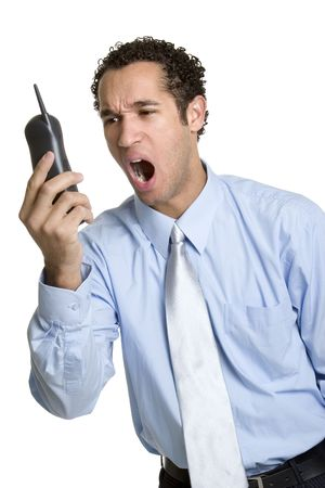 Man Yelling Into Phone photo