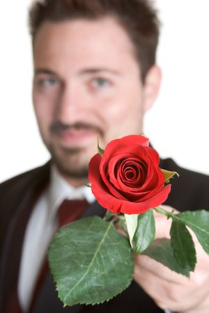 Man Giving Red Rose Stock Photo - 1015554
