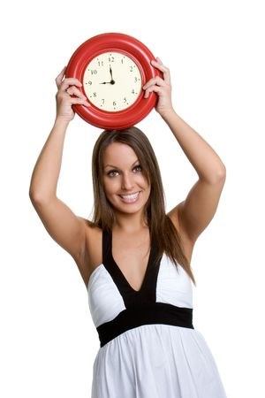 Woman Holding Clock photo