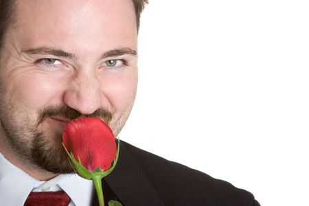 Man Smelling Rose Stock Photo - 1078427