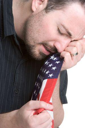 Hombre llorando en Bandera  Foto de archivo - 1118092